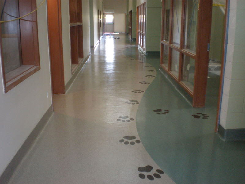 resin flooring with decals