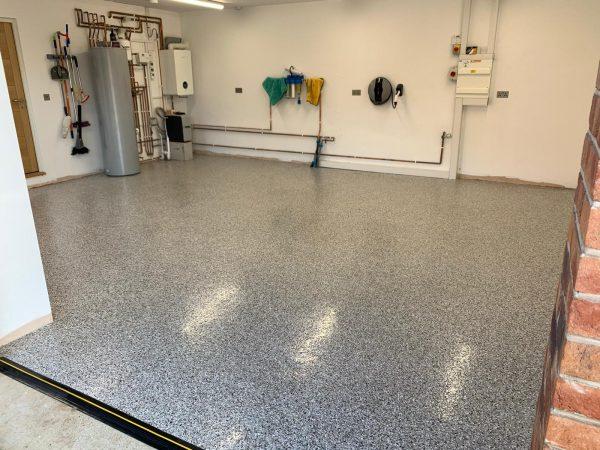 garage floor sealing strip on resin floor